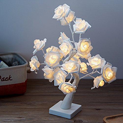 echosari 24LEDs Table Lamp Lights 14.4Ft Desk Light Flower Rose Tree Two Mode Powered via USB Port and Battery for Home Decorations Home Decor Whtie Rose Color Lights
