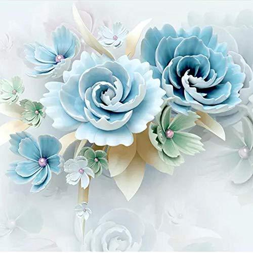 Fotobehang op maat 3D Non-Woven Stof Milieuvriendelijk en Duurzaam Behang Muursticker-Blauw Bloemenreliëf Kunst 450(w)x300(H)cm