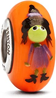 Fenton Art Glass Halloween Bead Batina the Witch Sterling Silver Lined
