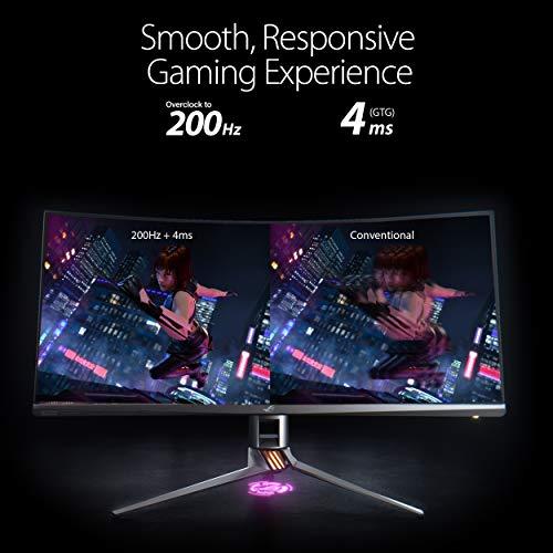 ASUS ROG SWIFT PG35VQ 35'' UWQHD Gaming Monitor, 3440 x 1440, 200 Hz, G-SYNC Ultimate, Local Dimming, Quantum Dot, 90% DCI-P3, DP1.4, HDMI, USB 3.0, DisplayHDR 1000 Certificato, AuraSync