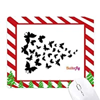 暗い色の蝶 ゴムクリスマスキャンディマウスパッド