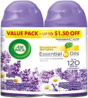 Air Wick Pure Freshmatic 2 Refills Automatic Spray, Lavender & Chamomile,Air Freshener, Essential Oil, Odor Neutralization, 6.17 Oz, Pack of 2