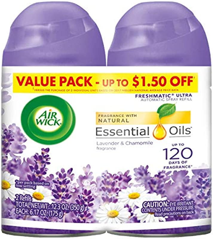Air Wick Pure Freshmatic 2 Refills Automatic Spray Lavender Chamomile Air Freshener Essential Oil Odor Neutralization 2x5 89 Oz Count Packaging May Vary
