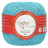 Anchor Freccia - Gomitolo di filo da uncinetto, 100% cotone, spessore 12, Cotone, 01442 blu, Blu