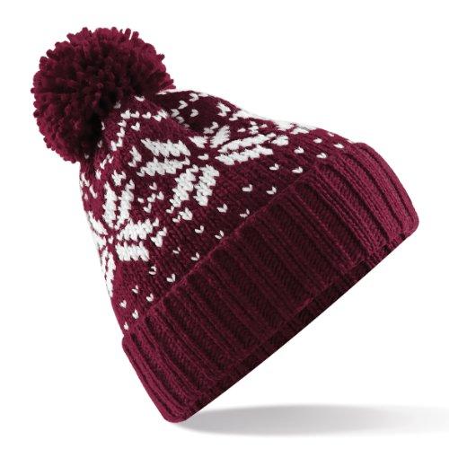 Beechfield Bonnet tricoté avec pompon Unisexe, Motif flocons de neige - Rouge - Taille Unique