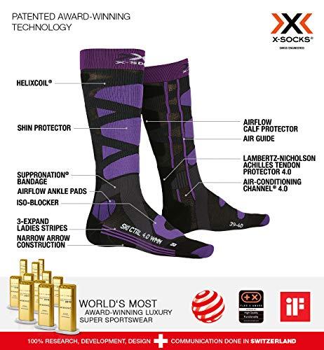 X-SOCKS Chaussettes Ski Control 4.0 Lady Chaussettes de ski Femme Noir Violet FR : S (Taille Fabricant : S(37-38))