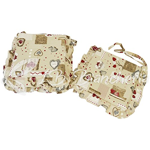 R.P. Set 4 Cuscini Sedia con Lacci e Voulant, sfoderabile, Miros Holly Tirolese Country Chic cm 40x40, con Zip - 100% Made in Italy