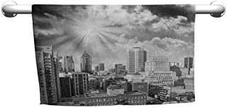 DIMICA Sports Towel Black and White Aerial View Montreal Canada Cityscape with Skyscrapers Architecture Personalized Bath Sheet 55 x 27 inch Black White Grey