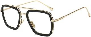 Vintage Aviator Square Sunglasses for Men Women Gold Frame Retro Brand Designer Classic Tony Stark Sunglasses
