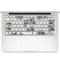 igsticker MacBook Air 13inch 2010 ~ 2017 専用 キーボード用スキンシール キートップ ステッカー A1466 A1369 Apple マックブック エア ノートパソコン アクセサリー 保護 010660 動物 イラスト 白