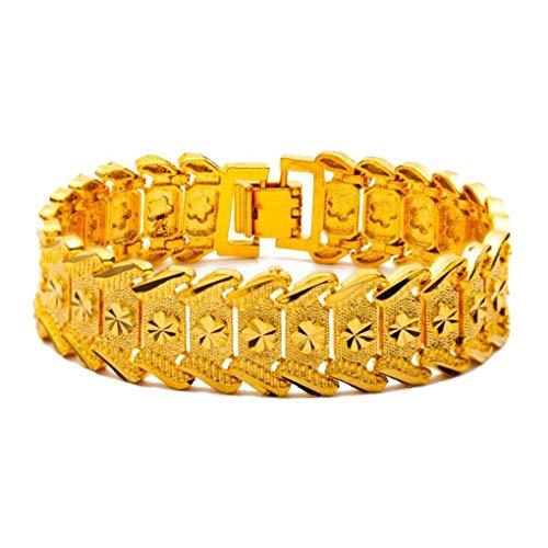 Conijiwadi Estilo étnico Oro 24k Chapado en Oro Color de vacío no se desvaneció la Pulsera Ajustable de los Hombres para los Regalos