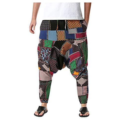 Pantalones Bombachos, Ancho Harem Pants con Entrepierna Casual, Hombre Mujer Unisex para Yoga Cómodo Pantalón (Multicolor, L)