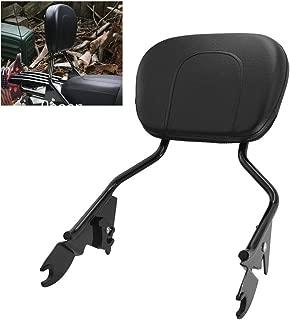 Gloss Black Detachable Passenger Backrest Sissy Bar - Triple Polished w/Pad For Harley Touring Road King Electra Road Street Glide 2009-2019
