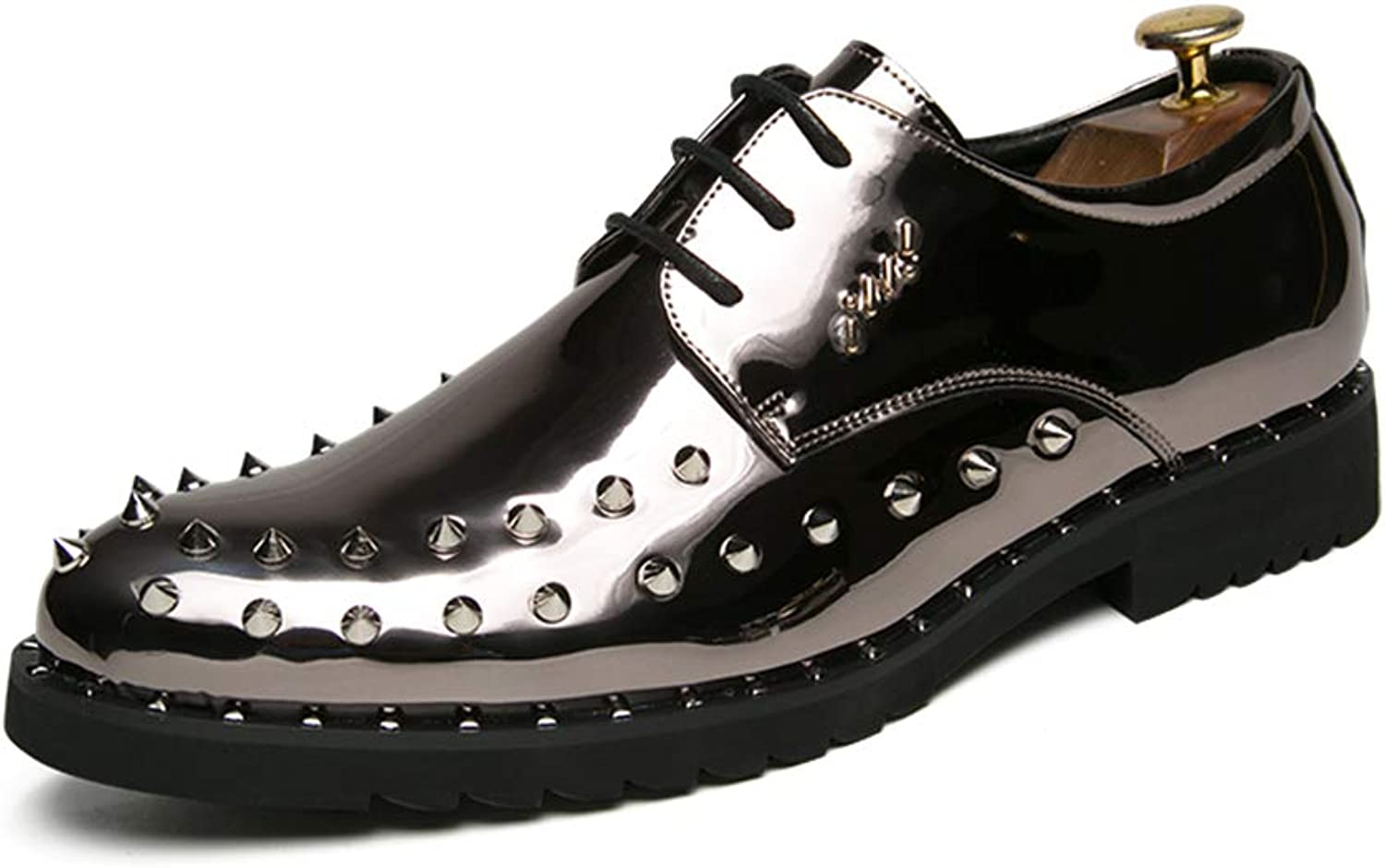 Ying Ying Ying xinguang Herrenmode Oxford Casual Persönlichkeit Niet Lace Up Laufsohle Lackleder Formelle Schuhe. (Farbe   Silber, Größe   44 EU)  f5ace6