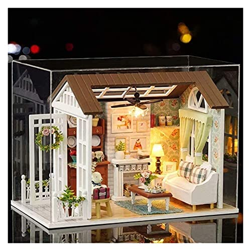USMEI Miniatur-Puppen-Kits, DIY. Kreatives Zimmer Haus Kit, Miniaturmöbel Mini grünes Haus for Erwachsene Mädchen Weihnachtsdekoration Geburtstagsgeschenke (Color : Happy Time Dust Proof Cover)