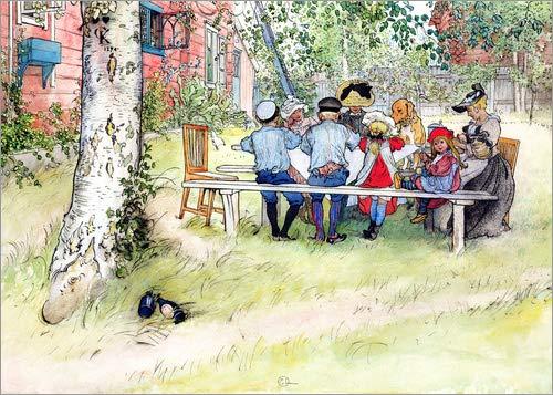 Posterlounge Leinwandbild 90 x 70 cm: Frühstück unter der großen Birke von Carl Larsson - fertiges Wandbild, Bild auf Keilrahmen, Fertigbild auf echter Leinwand, Leinwanddruck