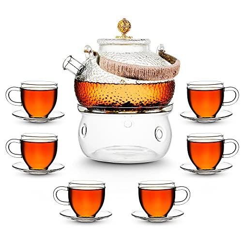 AdelDream Glas Teekanne mit Infuser, Teekanne Glas Teekessel mit Herd safe, blühende und lose Blatt Tee-Maker-Set (850ml+6(100ML)+Teewärmer)