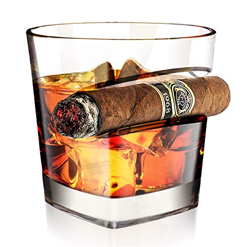 Kollea Cigar Whiskey Glass 15 Oz with Cigar Rest Holder, Old Fashioned Whiskey Glass, Whiskey Gifts for Men, Dad, Boyfriend, Husband for Birthday, Anniversary, Retirement, Christmas, New Year (Square)