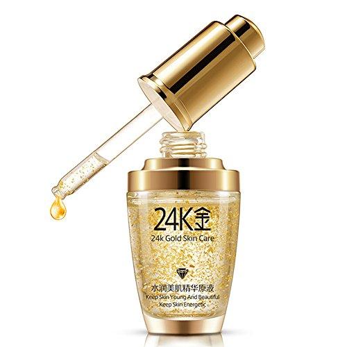 Esencia crema antiarrugas, bioaqua maquillaje 24K oro Esencia–Colágeno antiarrugas Hidratar hialurónico ácido líquido (30ml)