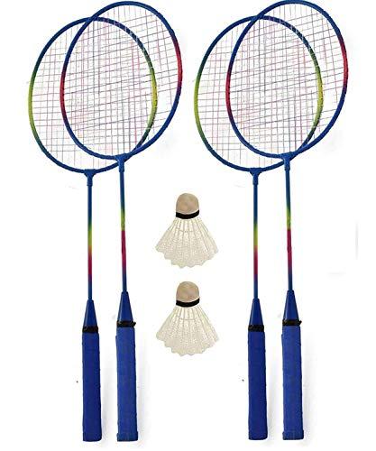 KandyToys M.Y Family Badminton-Gartenspiel-Set für 4 Spieler, inkl. Schläger und Federball