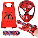 Kids Superhero Capes and LED Mask - Superhero Toys and Costume Gloves- Compatible Superhero Toys Red