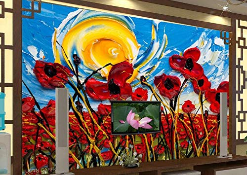 GAOWO Muurafbeelding met 3D-effect, modern abstract saffloor zonneolie, vliesbehang fotobehang, wandbehang, wanddecoratie, wandafbeeldingen 250 cm x 175 cm.
