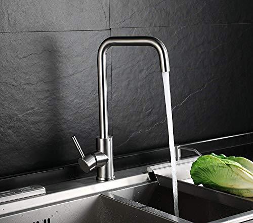 Homfa Wasserhahn 360° Drehbar Küche Einhebelmischer Spültisch Küchenarmatur Wasserhahn Mischbatterie Spüle für Küchen 3/8 Zoll-Standard-Port