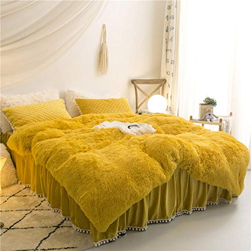 N / A Winter princess style coral fleece four-piece fleece thick warm flannel bedding-Bright yellow (send the same pillow)_1.5m 4pcs