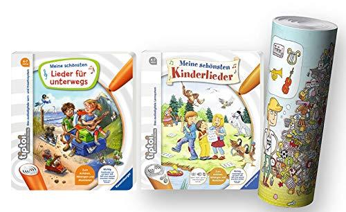 tiptoi Ravensburger schönsten Lieder für unterwegs Lernbuch + Ravensburger Kinder-Buch 4-7 | Meine schönsten Kinderlieder + Musik Instrumente Wimmel-Poster by Collectix