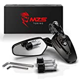 MZS Bar End Mirrors - Motorcycle Rear View mirror 7/8 Hollow Handlebar Side Arrow Black compatible with Sport Street Bike Cruiser Scooter