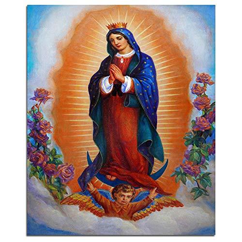 sexy diamante pintura Nuestra Señora de Guadalupe Virgen De Guadalupe 5D DIY Diamante Pintura Religión Cuadrado Completo Diamante Bordado Diamantes de imitación Imagen 40x50cm