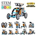 Wenosda Solar Robot Toys STEM 12-in-1 Educational Building Toy DIY Science Experiment Kit 190 Pieces Coding Robots Engineering Set Powered by The Sun for Kids Boys&Girls