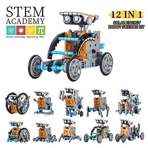 Wenosda Solar Robot Spielzeug STEM 12-in-1-Spielzeug für Bildungsgebäude DIY Science Experiment Kit 190 Stück Codierroboter Engineering Set Powered by the Sun für Kinder Jungen& Mädchen (STEM 12 in 1)
