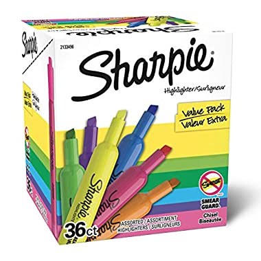 Sharpie Tank Highlighters, Chisel Tip, Assorted Color Highlighters, Value Pack, 36 Count