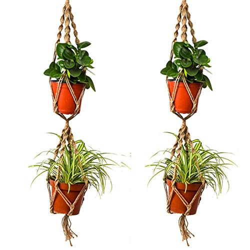 Bureze 110 cm Double Couche Chanvre Corde de Jute Plante Pot de Fleurs Cintre Support macramé Panier à Suspendre