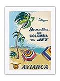 Pacifica Island Art Jamaica and Colombia via Jet – Avianca National Airways of Colombia, Caribbean – Póster vintage de viajes aéreos c.960 – impresión en tela Dupioni 100% seda pura 45,72 x 61 cm