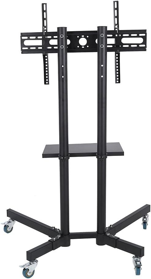 Qiilu Adjustable TV Cart 高品質 Stand 在庫あり Mobile Shelf Standing Mo