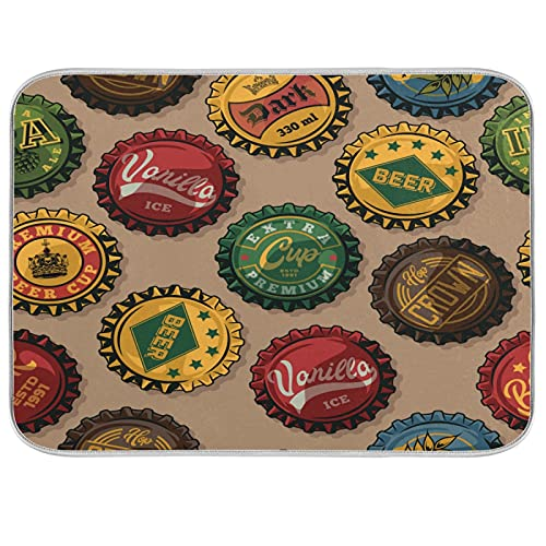 xigua Tapas para botellas de cerveza, diseño vintage y colorido, tapete absorbente para secar platos, escurridor/almohadilla de rack, protector para encimeras, fregaderos, mesas, etc., 40,6 x 45,7 cm