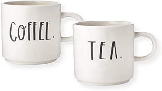 Rae Dunn Magenta Stem Print Lettering Set of 2 Coffee Tea Mugs - Coffee - Tea