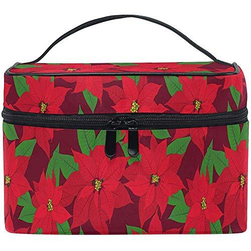 Poinsettia Rouge Sac de Maquillage de Noël Sac de cosmétiques de Baies de Noël Sac de Rangement pour Organisateur de Sac à Brosse Portable Zip