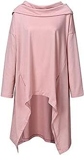 iHHAPY Women's Casual Hoodie Tuxedo Hoodie Sweatshirt Pullover Jumper Solid Irregular Hem Streetwear Hooded Pullover