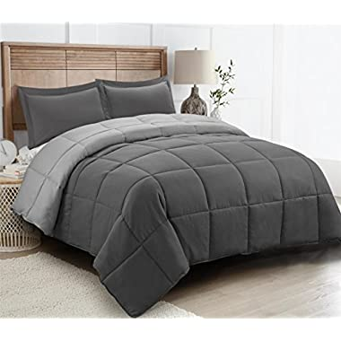 HIG 2pc Down Alternative Comforter Set -All Season Reversible Comforter with Sham -Quilted Duvet Insert with Corner Tabs -Box Stitched –Hypoallergenic, Soft, Fluffy(Twin/Twin XL,Dark Gray/Light Gray)