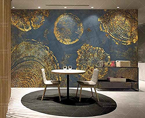 Textura de hoja de oro Anillos abstractos Arte retro para paredes Murales Papel pintado Pared Pintado Decoración dormitorio Fotomural sala sofá mural dormitorio background-400cm×280cm