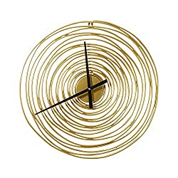 KJDFN Iron Craft Annual Ring Wall Clock Living Dining Room Bedroom Home Fashion Creative Personality Handmade Mute Metal Decoration Luxury Modern European-Style Golden 4949cm Novel