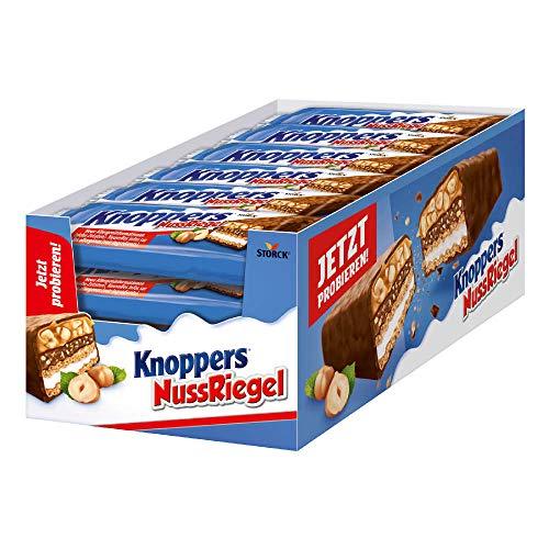 Knoppers NussRiegel – (24 x 40g) – Der erste Riegel auf Knoppers Art – Mit knusprigen Waffeln, leckerer Milch- & Nugatcreme, knackigen Haselnüssen in Karamell, umhüllt von Vollmilchschokolade