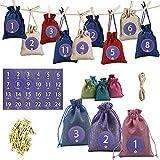 Niktule Bolsas de Calendario de Adviento de Navidad Guirnalda de Cuenta Regresiva de 24 días para decoración navideña