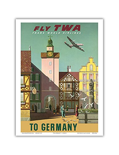Germany - Fly TWA Trans World Airlines - Vintage Airline Travel Poster by S. Greco c.1950s - Master Art Print - 9in x 12in -  Pacifica Island Art, Inc., PRTA3066