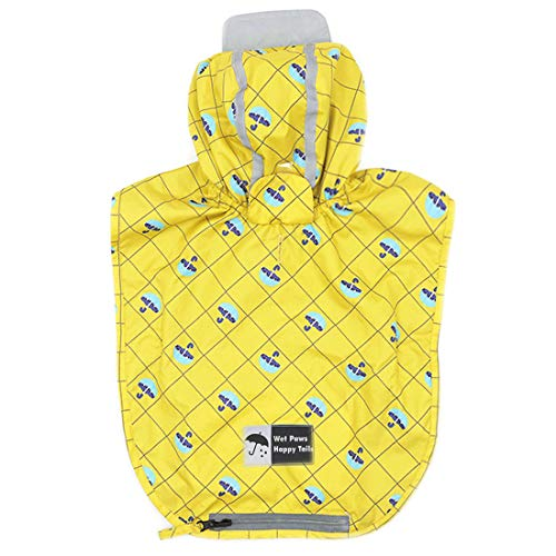 kyeese Dog Rain Poncho Waterproof Reflective Dog Yellow Raincoat with Hood for Small Dogs...