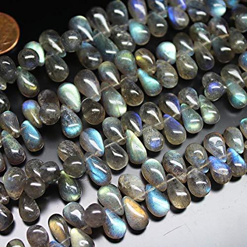 Shree_Narayani Cuentas sueltas de labradorita azul de calidad AAA, de 8 a 12 mm, suaves gotas de lágrima de 8 pulgadas, para hacer joyas, collares, pulseras, pendientes, manualidades, 1 hebra