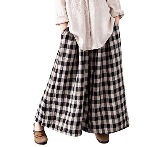Daylin Mujer Pantalones Largos a Cuadros, Casual Suelto Baggy Pantalones Anchos con Bolsillos